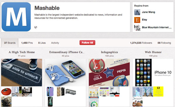 Mashable Pinterest